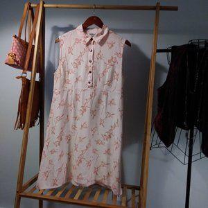 Linen Tropical Hawaiian Floral Midi Dress M